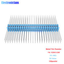 100 pz/lotto Metallo Film Resistor 1% 1/2 W 0.5 W 1R 4.7R 10R 100R 220R 1 K 2.2 K 4.7 K 10 K 22 K 47 K 100 K 470 K M Ohm Resistenza 1R-1M Ω