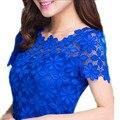Novas Mulheres Blusa de Renda Sexy Floral Sheer Blusas de Manga Curta Tee camisa Top bordado Lady Mulheres Oco out gancho flor M ~ 3XL