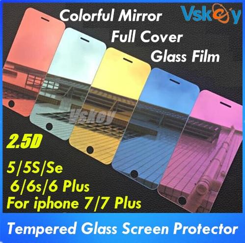 imágenes para 10 unids colorful espejo cubierta completa de vidrio templado para iphone 7 plus protector de pantalla para iphone 6 6s plus 5S protectora película