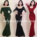 Frete grátis 2015 Retro Vintage elegante inverno essencial malha elástica apertada SexyTruprt mulheres vestido Bodycon sereia
