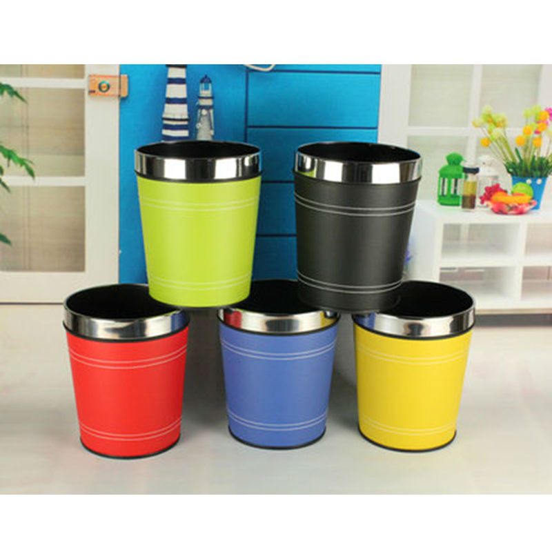 US $23.89 |Fashion Creative Leather Trash Cans Kitchen Living Room Home  Waste Bins Office Storage Paper Basket-in Waste Bins from Home & Garden on  ...