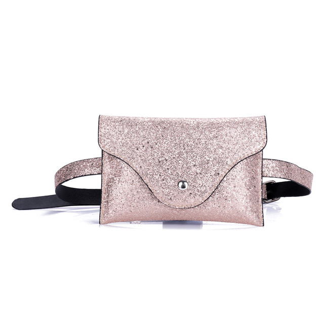 Fashion Women Fanny Pack Sequins Leather Waist Pack Hasp Bag Female Money Belt Chest Functional Phone Bag