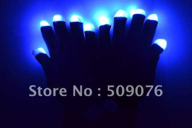 Free shipping 100pcs(50pairs)7 Modes color changing led glove rave light  led finger light gloves light up glove for party favor
