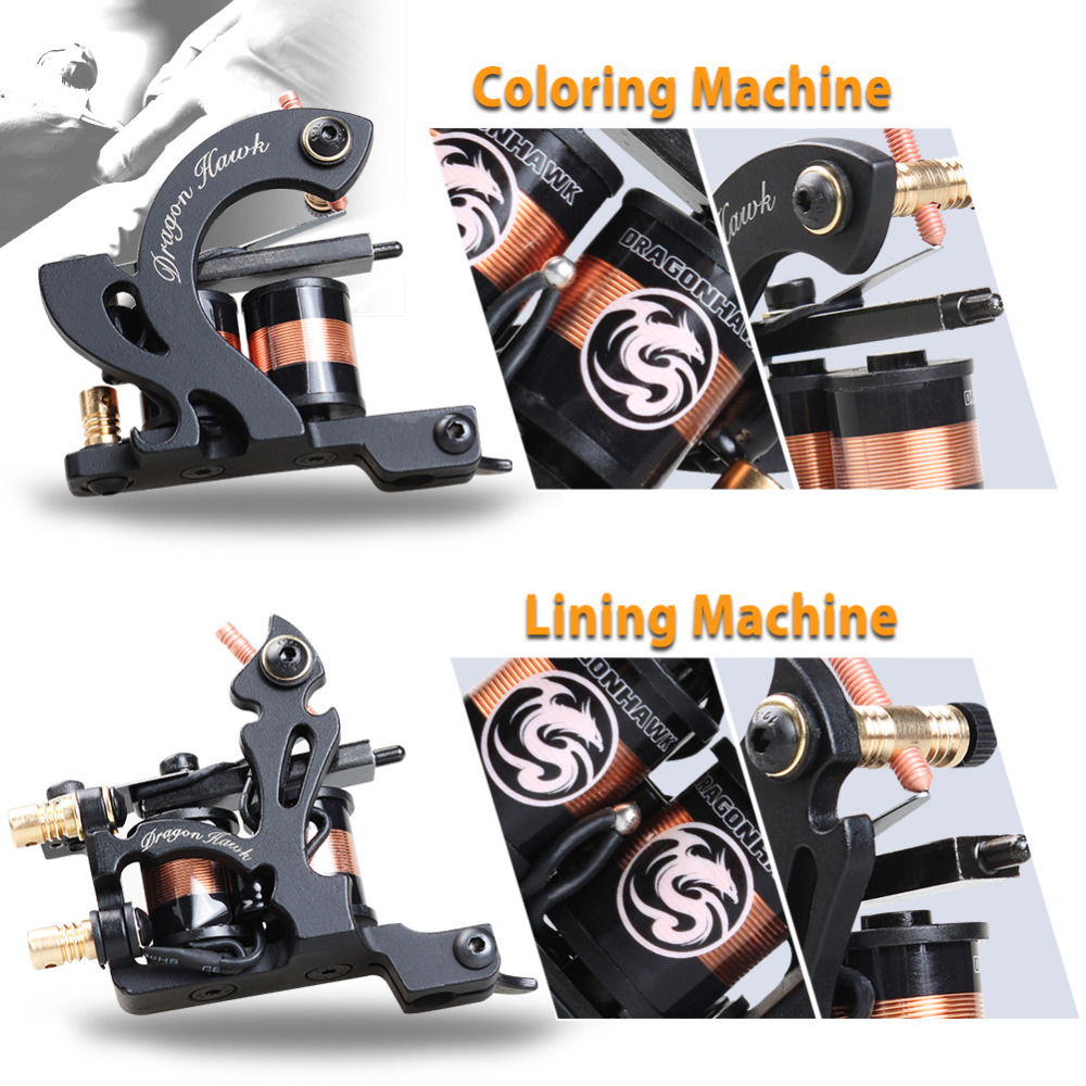 Profesjonell Tattoo Kit Machine 4 Style Guns Set Med Disposable - Tatovering og kroppskunst - Bilde 6