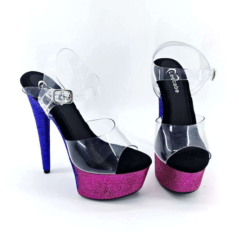 Leecabe New Blue & Hot pink Glitter Heels 15cm fancy pole dance sandals lady shoe high heel platform pole dance shoesLeecabe New Blue & Hot pink Glitter Heels 15cm fancy pole dance sandals lady shoe high heel platform pole dance shoes