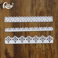 QITAI 3 teile/los Rechteckigen Spitze Form DIY dekoration Papier Schneiden Sterben Metall Material Kreative Geschenk Scrapbooking D44