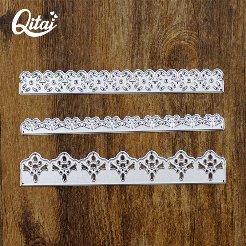 QITAI 3pcs / lot Lace Rectangular Shape Decorare DIY Cutter de hârtie Cutting Die Metal Material Creative Gift Scrapbooking D44
