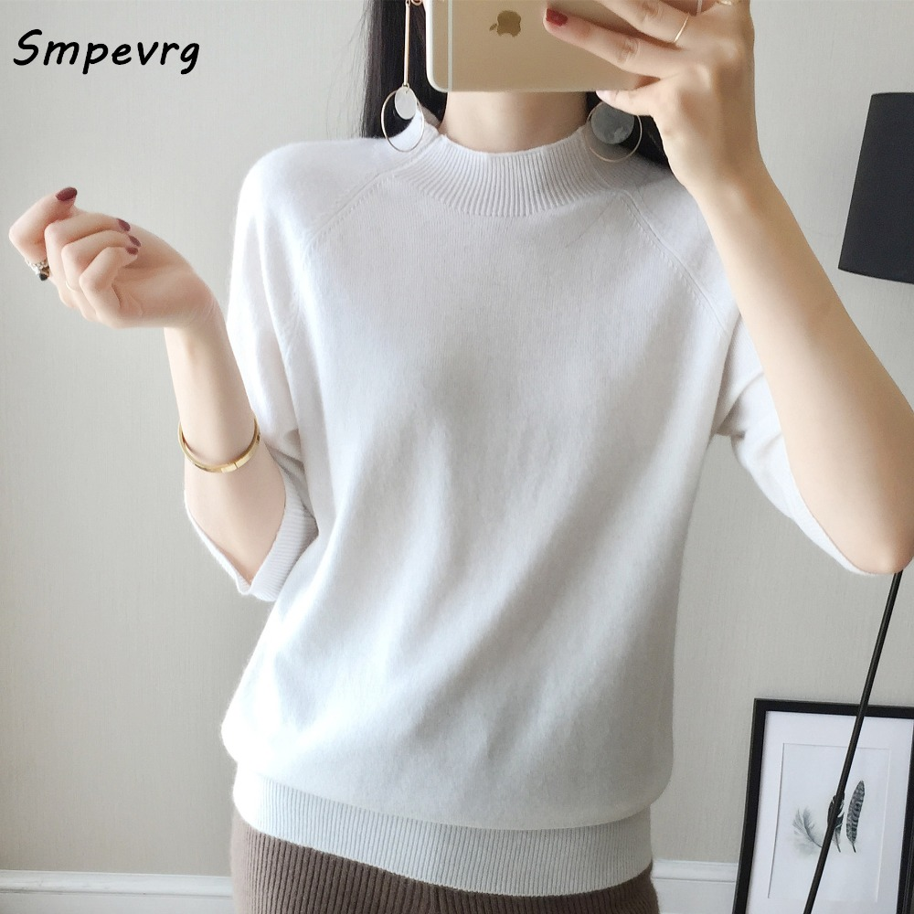 Smpevrg spring summer cashmere sweater women sweaters and pullovers half sleeve high neck women pullover female knitted soft