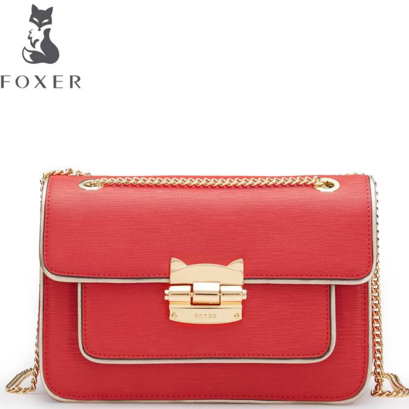 FOXER2018 high-quality fashion luxury brand new women's chain bag small square handbag shoulder Messenger bag wild hit color tid