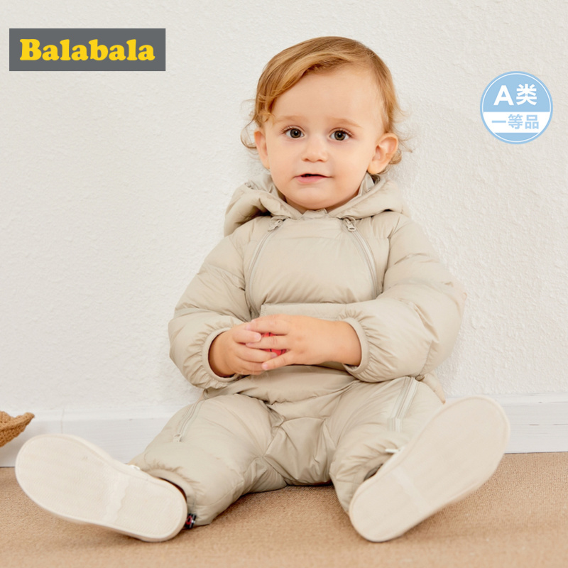 Balabala Infant Baby Boy Girl Double-Zipped Puffer Down Snowsuit Hooded Jumpsuit With Pocket Newborn Baby One-Piece For Winter