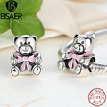 Present Authentic 925 Silver It's A Girl Teddy Bear, Pink Enamel Charm fit original  Bracelets Jewelry Accessories PAS219