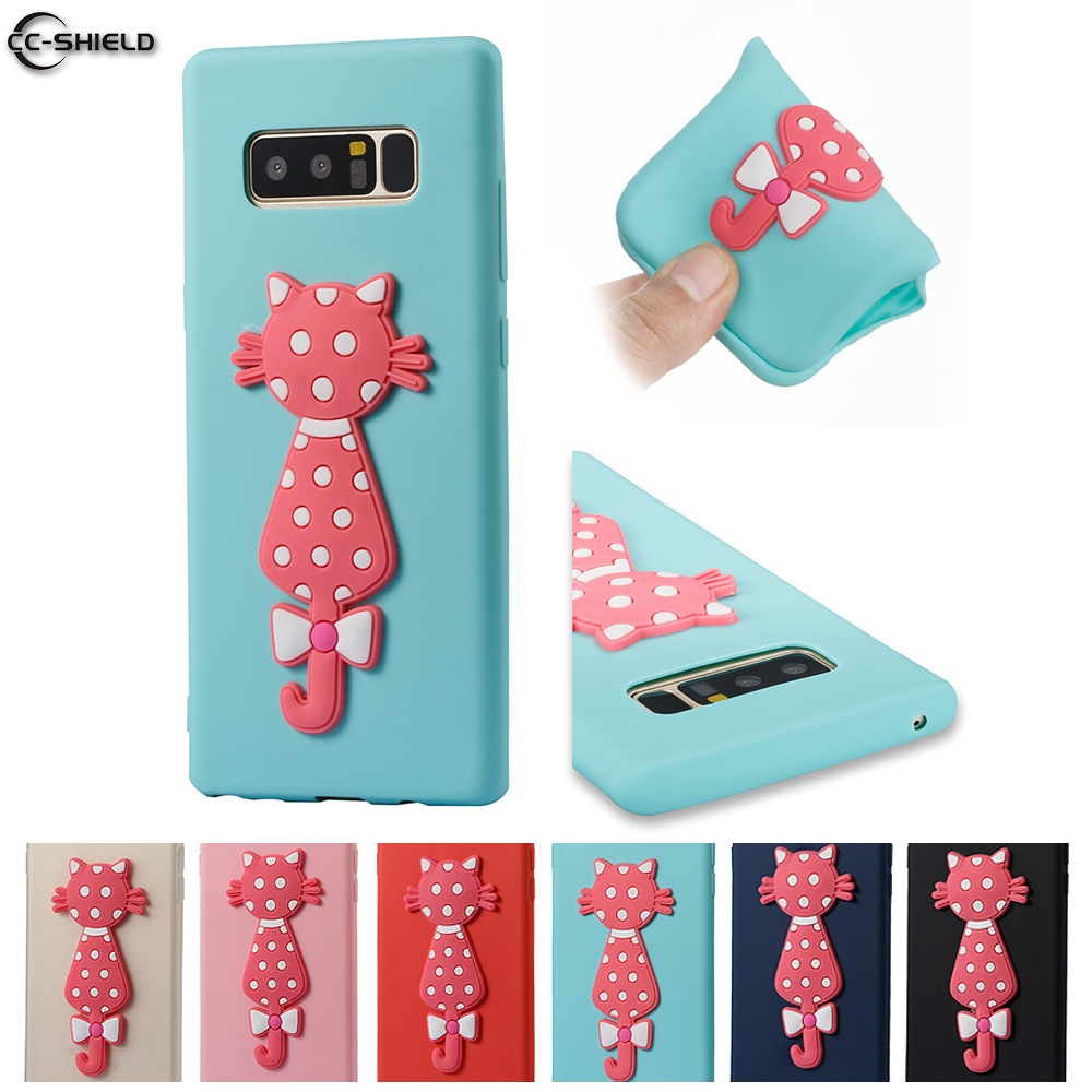 Cute Cat Phone Case for <font><b>Samsung</b></font> <font><b>Galaxy</b></font> <font><b>Note</b></font> <font><b>8</b></font> <font><b>N950N</b></font> N950F N950FD N950F/DS Coque Soft Silicone Cover SM-N950F SM-N950FD SM-N950 image