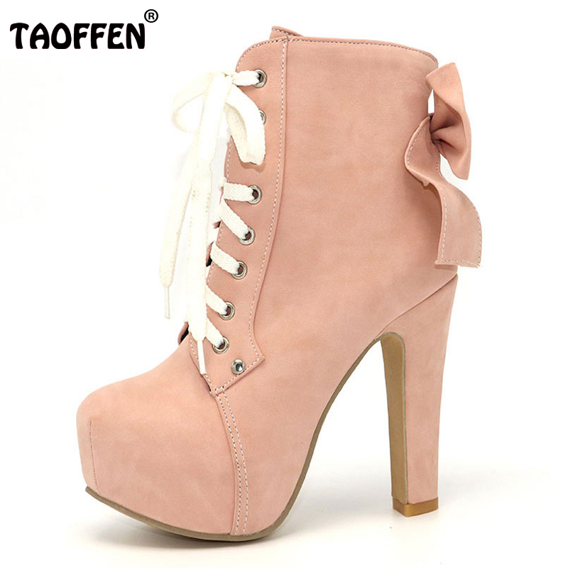 TAOFFEN Women Boots Women Shoes Ankle Boots High Heeled Lace Up Sweet Bowtie Bowknot New Fashion Autumn Winter Shoes Size 31-43 2018 new fashion ankle boots autumn winter women boots high heels boots lace up women shoes large size 34 43