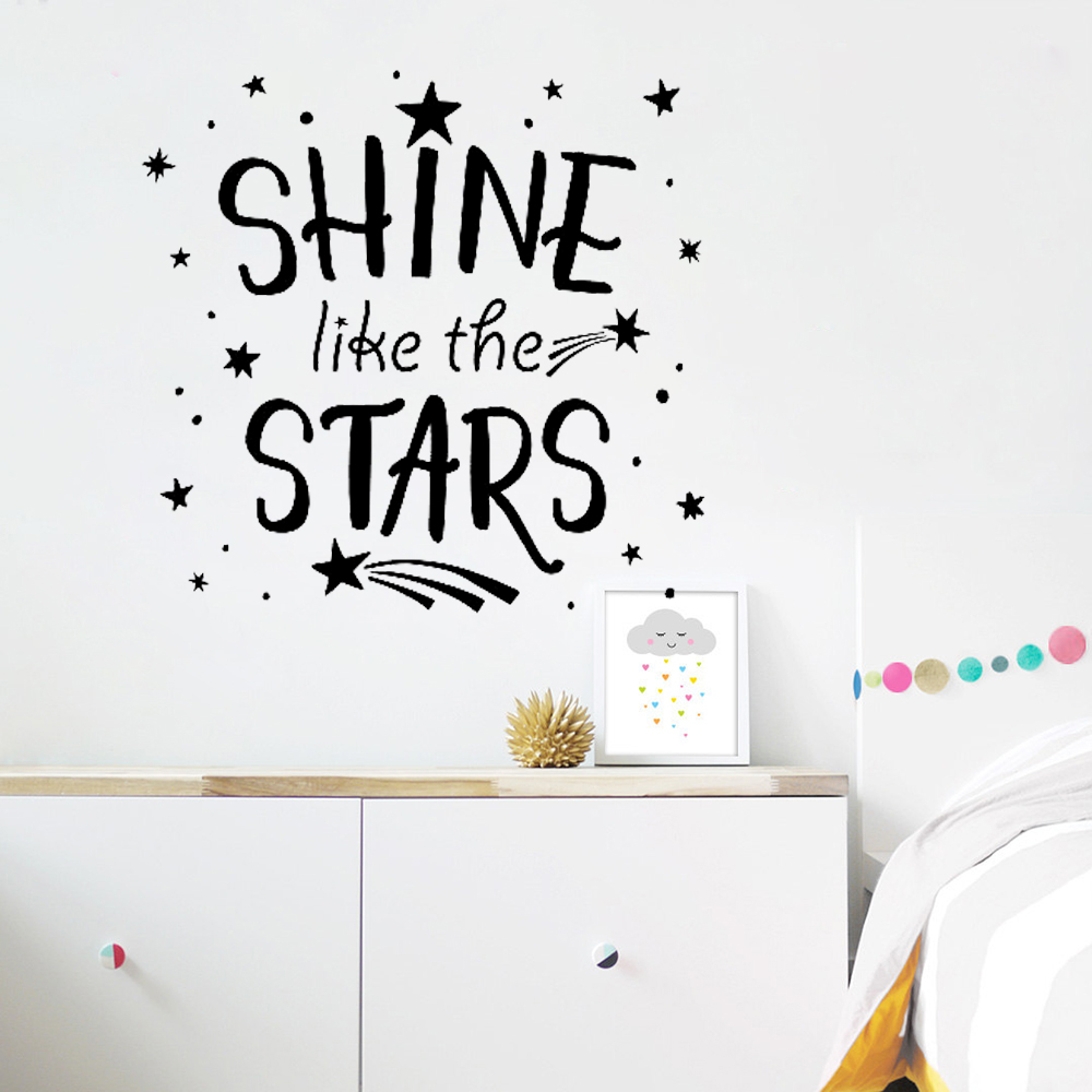 Shine Like The Stars Quotes Wall Stickers Bedroom Home Decoration Removable Text Wall Decal For