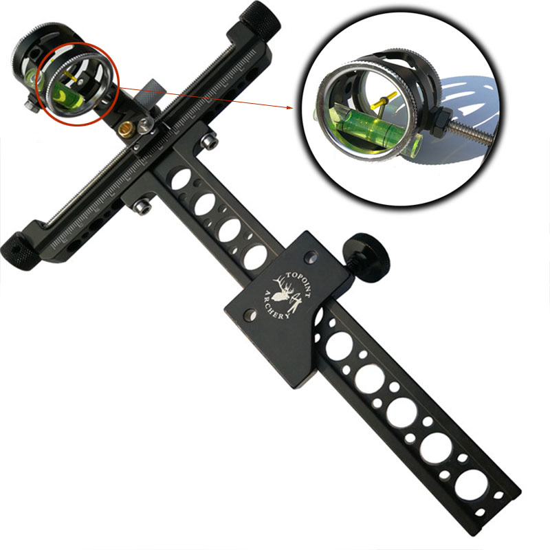 4x Compound Bow Sight 1 Pin 0.059 Micro Adjust Long Pole Hunting Bow Sight Aluminum Archery Zoom Single Bow Accessory Shooting 4 color compound bow sight 1 pin 0 019 with quickly adjust detachable bracket tp9510 camo for hunting shooting archery