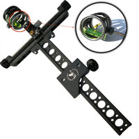4x Compound Bow Sight 1 Pin 0.059 Micro Adjust Long Pole Hunting Bow Sight Aluminum Archery Zoom Single Bow Accessory Shooting