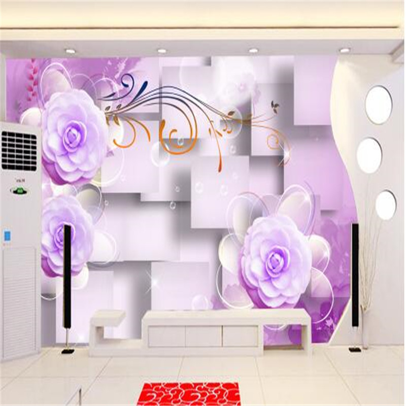 customized modern 3d photo purple flowers TV sofa background wallpaper 3d living room bedroom non-woven wallpaper mural painting large mural living room bedroom sofa tv background 3d wallpaper 3d wallpaper wall painting romantic cherry