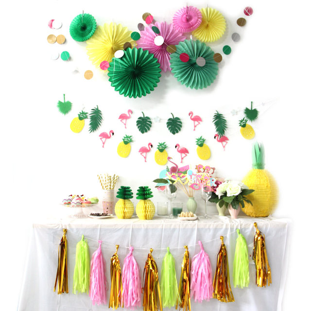 Hot Koop Een Set Flamingos Thema Hawaiian Party Decoraties Zomer