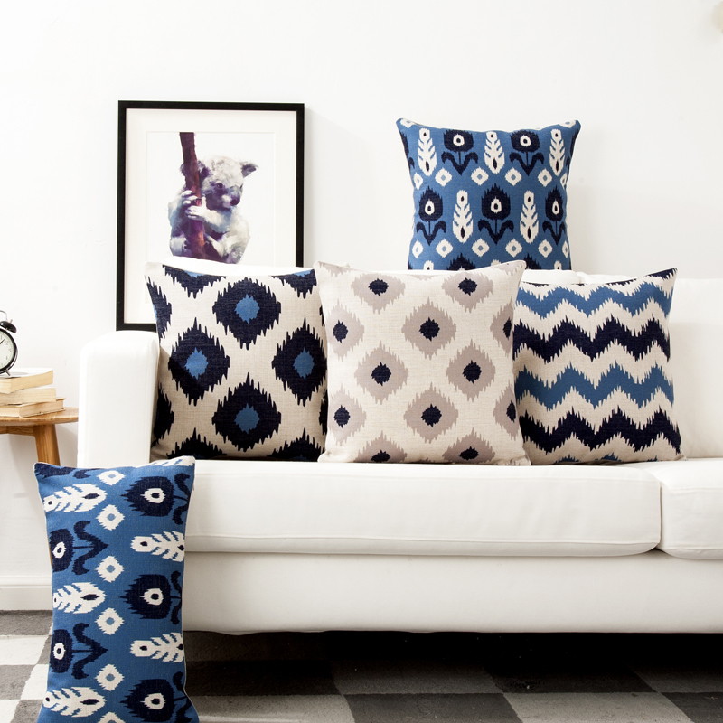 Decorative throw pillow case cover geometric Blue memory classic cotton linen cushion cover Lumbar pillow cover 30X50cm,45X45cm