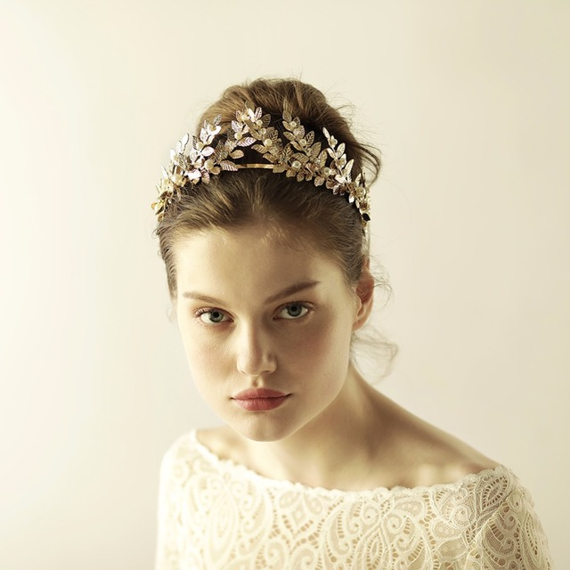 high qualities vintage wedding hair accessories bridal jewelry headbands classic big leaf retro hair bands gold
