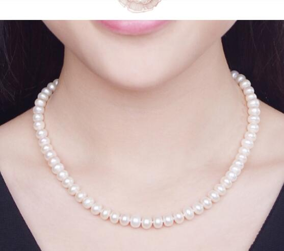 noble women gift 17INCH GOLD CLASP HUGE 9-10mm white 100% AAAA Natural farming Fresh water Pearl Necklaces with Fashion