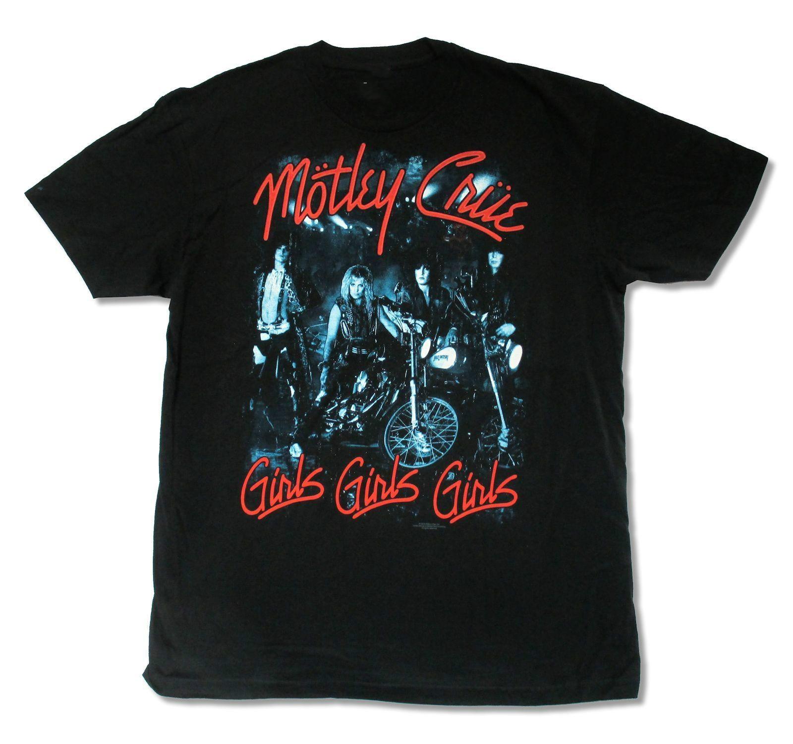 Black t shirt for girl - Motley Crue Three Girls Band Pic Mens Black T Shirt Nikki Six Tommy Lee