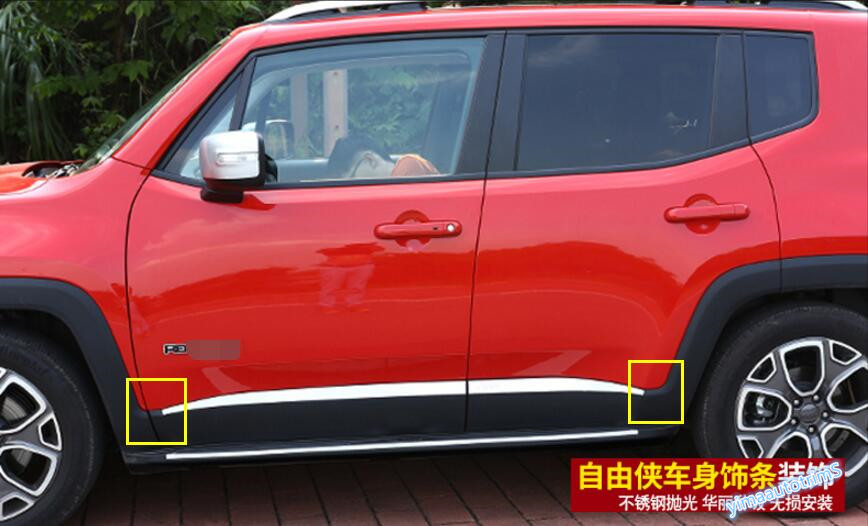 High Quality For Jeep Renegade 2015 2016 2017 Stainless Steel Side Door Body Molding Cover Trim