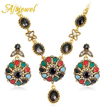hot deal buy ajojewel bohemian fashion jewelry sets womens accessories vintage jewellery necklace earrings with colorful stone