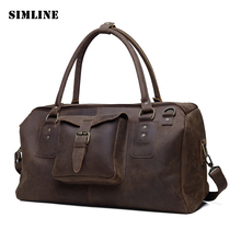 Vintage Casual 100% Genuine Leather Cowhide Crazy Horse Leather Men Travel Duffle Handbag Shoulder Messenger Bag Bags For Men