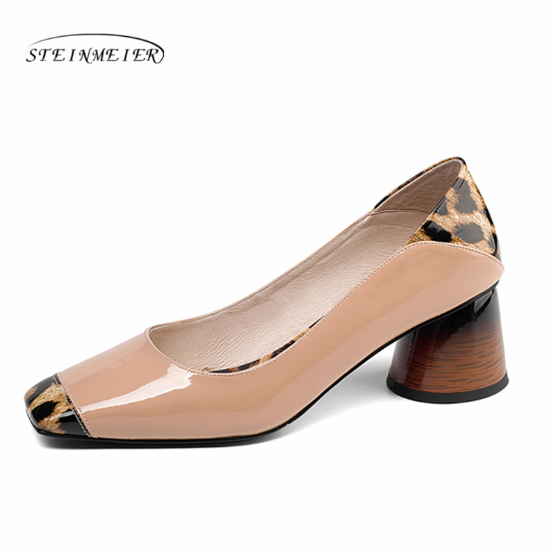 Women summer high heels fashion genuine leather pumps spring thick heels shoes square toe leopard heel