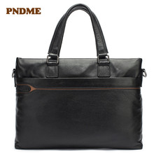 Mens briefcase wholesale business first layer leather mens bag cross - section body