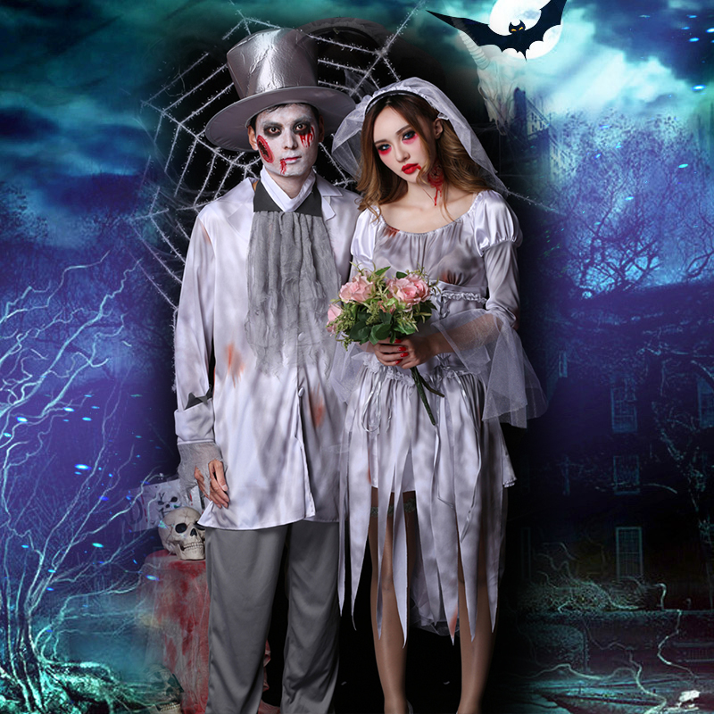 Bride And Groom Halloween Costume.Us 23 47 35 Off Halloween Costume Cosplay Costume Female Ghost Bride And Groom Horror Bloodstained Female Adult Zombie Suit In Holidays Costumes