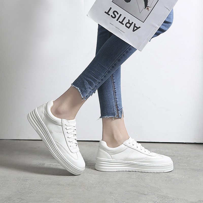 Genuine Leather Women Sneakers Fashion white Shoes for Women Lace up White Shoes Creepers Platform Shoes Woman Casual Footwear women platforms lats shoes 2015 casual shoes ladies fashion footwear creepers lace up single shoes mujer zapatillas de deporte