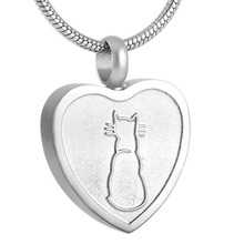 IJD8253 My Pet Cat Rest in My Heart Engraving Urn Necklace for Ashes Heart Cremation Pendant in Memory of Loss Animal/ Pet lover michael capuzzo cat caught my heart