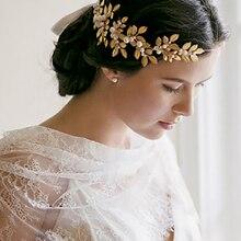 Dower me Gold Silver Leaves Wedding Tiara Vintage Hair Crown Bridal Accessories Jewelry Handmade Pearl Headpiece
