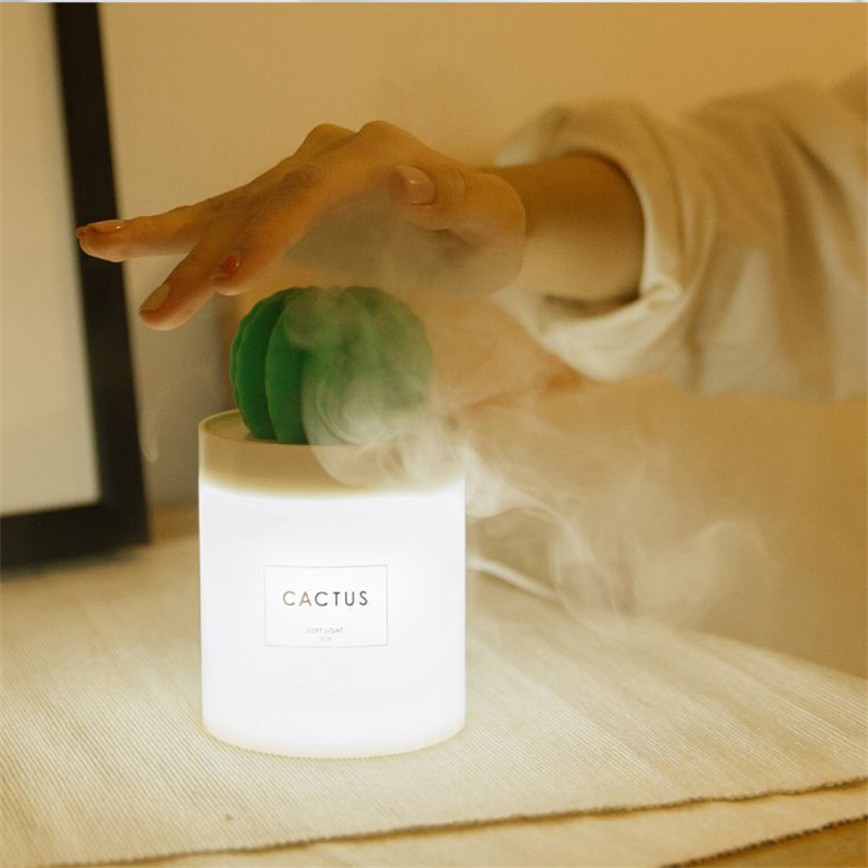 BOMEINENG Cactus Ultrasonic Humidifier Aromatherapy Mist Maker Car Air Humidifier Purifier Usb Essential Oil Aroma Diffuser 5v bomeineng 220ml white deer mini air humidifier essential oil diffuser aromatherapy household ultrasonic humidifier usb diffusers