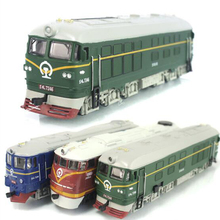 Dongfeng locomotive simulation model of acousto-optic alloy warrior green train model classic children's toy car m64