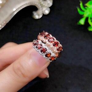 Image 3 - CoLife Jewelry anillo granate de plata 925 para niña, 5 piezas, anillo plata granate Natural VVS, joyería de granate de plata, regalo de cumpleaños