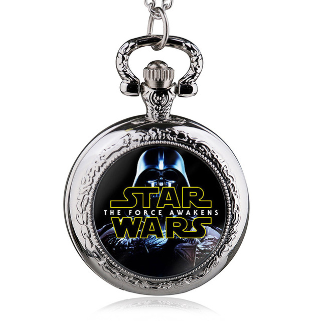 Antique Star Wars Theme Pendant Pocket Watch With Chain Necklace Cool Best Gift