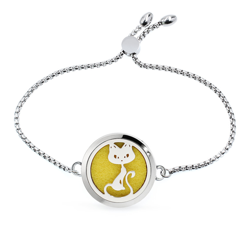 Lovely Cat 30mm Stainless Steel Aromatherapy Perfume Diffuser Locket Adjustable Chain Bracelet Women Jewelry 10pcs Pads