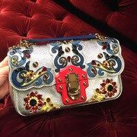 Высокое качество чрезвычайно роскошный дизайн женские сумки цепь заклепки сумка на плечо известный бренд натуральная кожа сумки через пле