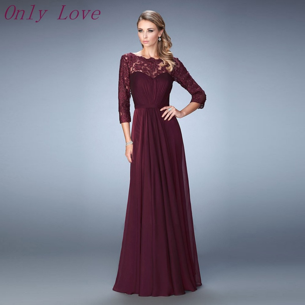 Maroon Long Sleeve Dresses
