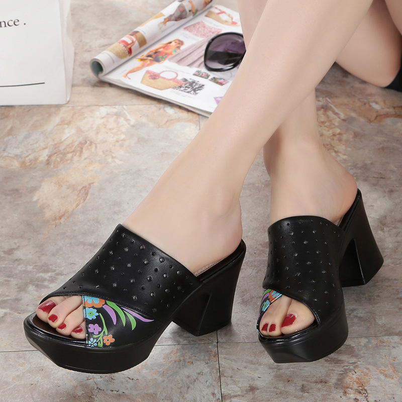 Plataforma Genuino Moda Verano Mujer Hechizo De Tacón Sandalias 2018 Colores Impreso Zapatos Alto Negro Zapatillas Cuero blanco qt8xg