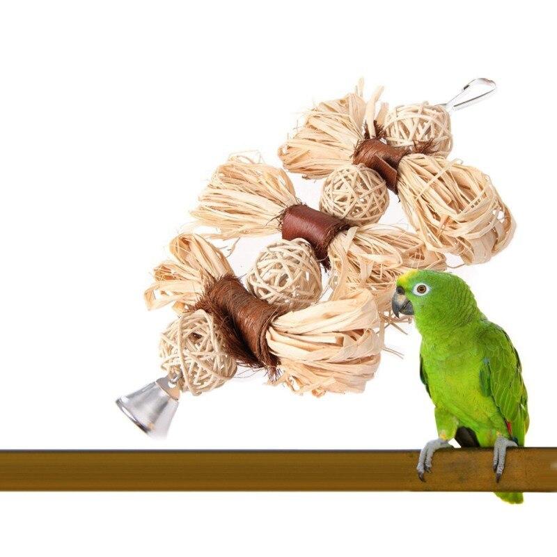 Bird Supplies Home & Garden Lovely Parrot Toys Pet Cockatiel Loofah Sepak Takraw Ball Chewing Bells Toy Parakeet Bird Bites Swing Birds Cages Decor Toys