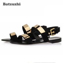 2018 Summer Men Shoes Designer's Genuine Leather Men Sandalias Zapatos Mujer Rome Rock Fashion Mens Sandal Shoes, US6-10!