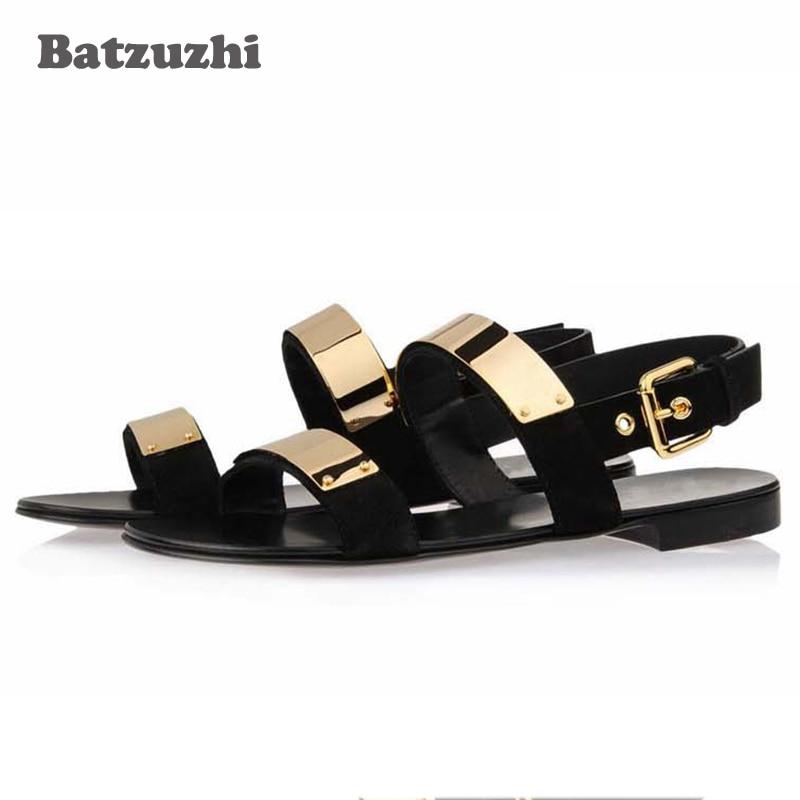 2018 Summer Men Shoes Designer's Genuine Leather Men Sandalias Zapatos Mujer Rome Rock Fashion Mens Sandal Shoes, US6 10!