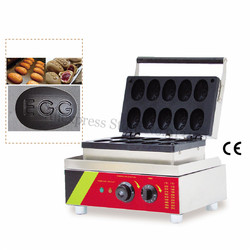 10 Molds Special EGG Shaped Waffle Machine Fun Egg Waffle Maker Fast Food Snack Machine 68*48mm Mould Non-stick 220V/110V