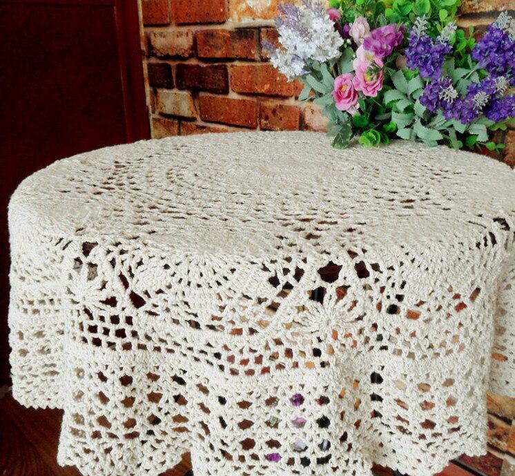 Mano crochet calado Encaje Manteles cortina redonda mesa de café de ...