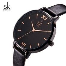 Shengke Marca Relojes Mujeres de Moda de Cuero Negro Relojes de Lujo Del Cuarzo de Las Señoras Reloj de Pulsera Relogio Feminino 2018 SK Reloj Femenina
