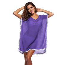 06a86cc5b28cb Pareo Beach Dress Cover Up Swimsuit Tunic New Chiffon Pure Color Bead Skirt  Loose Large Size